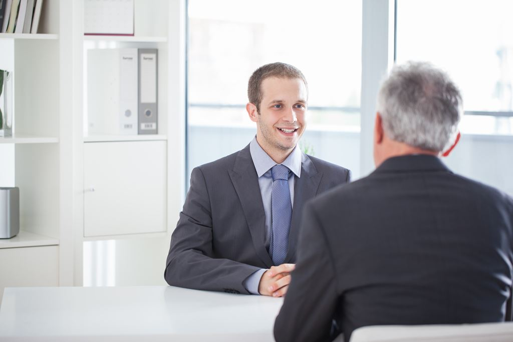 man interviews for a technical position